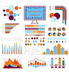 Blue orange info graphics vector