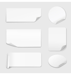 White stickers - set of paper stickers isolated on vector