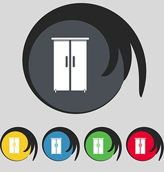 Cupboard icon sign symbol on five colored buttons vector