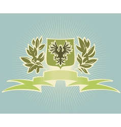 Green shield with eagle vector