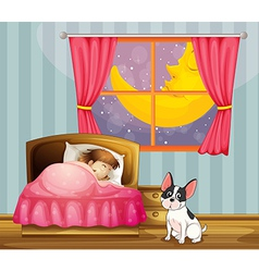 A girl sleeping in her room with a dog vector