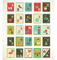 Christmas retro alphabet with cute xmas icons vector