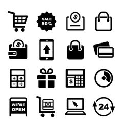 Shopping and supermarket services icons set vector