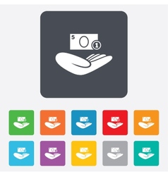 Donation hand sign icon charity or endowment vector