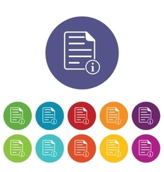 Information document icon set vector