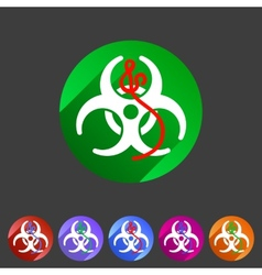 Ebola biohazard flat icon badge vector