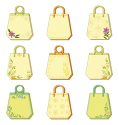 Set tags with floral pattern vector