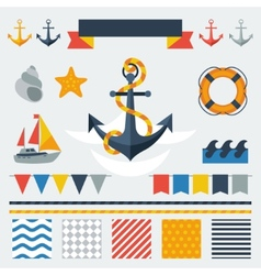 Collection of nautical symbols icons and elements vector