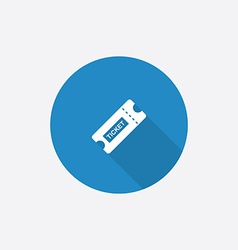 Ticket flat blue simple icon with long shadow vector