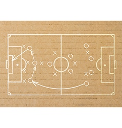 Paper stick drawing a soccer game strategy vector