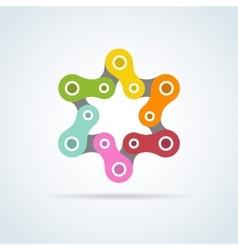 Colorful bike chain star david star vector