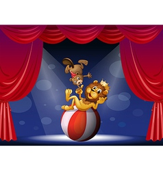 A lion and a beaver performing at the stage vector