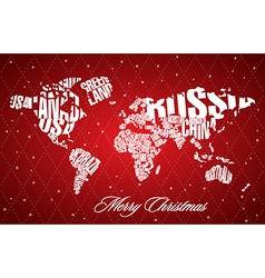 Christmas world map in typography vector