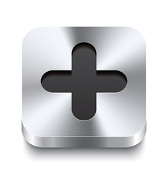 Square metal button perspektive - plus icon vector