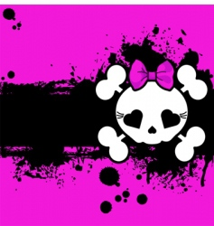 Grunge cute skull place card vector