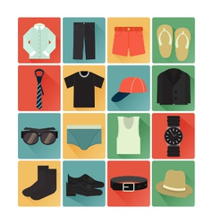 Flat icons costume gentleman vector