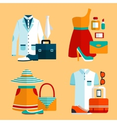 Shopping clothing icons set vector