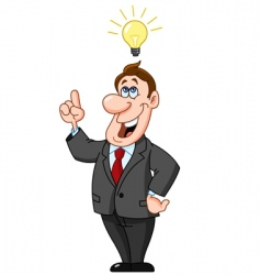 Businessman under light bulb vector