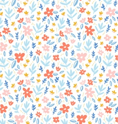 Colorful flowers on white background seamless vector