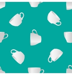White cups seamless pattern vector
