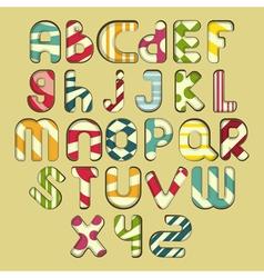 Multicolored striped alphabet vector