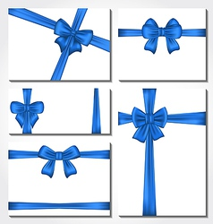 Set of blue gift bows for design packing vector