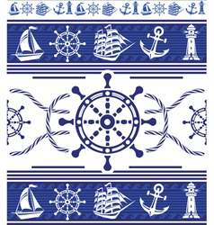 Banners with nautical symbols vector