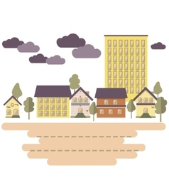 Day in city buildings and trees flat style vector