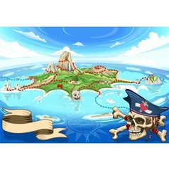 Pirate cove island - treasure map vector