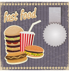 Vintage background with the image of fast food vector