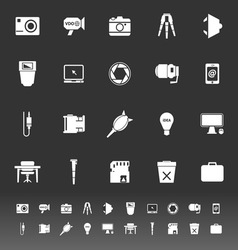Photography related item icons on gray background vector