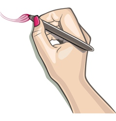 Hand using stylus draws a brush sketch vector