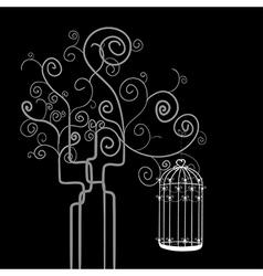 Swirl tree bird cage vector
