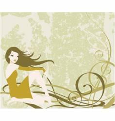 Grunge girl background vector