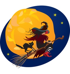 Halloween night - witch and black cat vector