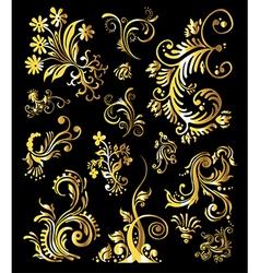 Vintage golden decoration elements vector