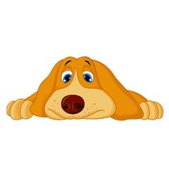 Cute cartoon dog lying down vector