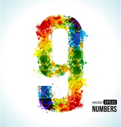 Color paint splashes gradient number 9 vector