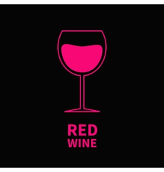 Pink wine glass black background vector