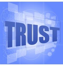 Words trust on digital screen social concept vector