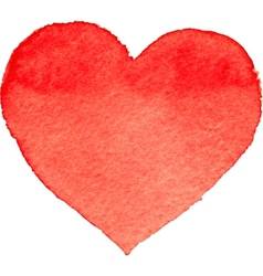 Watercolor painted red heart vector