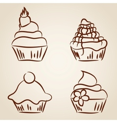 Cupcake sketches vector