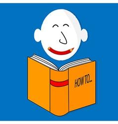A happy book cartoon character vector