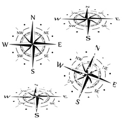 Grunge compass set vector