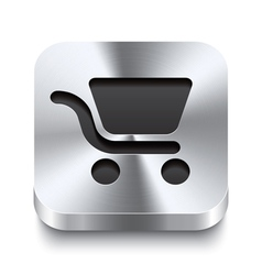 Square metal button - shopping cart icon vector