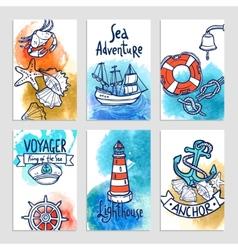 Nautical cards set vector
