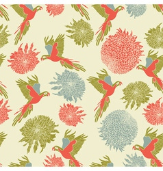 Retro parrot pattern vector