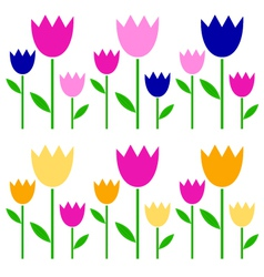 Colorful spring tulips set isolated on white vector