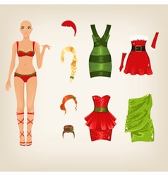 Female christmas clothes vector