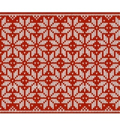 Red and white knitted snowflakes seamless pattern vector
